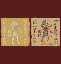 Tiles with egyptian god thoth and hieroglyphs vector