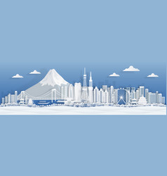 Tokyo paper cut japan city skyline panorama with vector