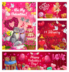 Valentines day romantic love gifts hearts roses vector