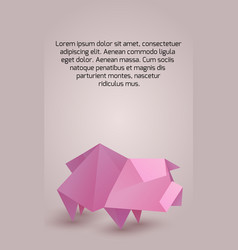 vertical banner with origami pig and space for vector image