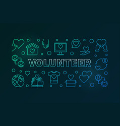 Volunteer outline colored or vector