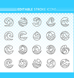 water wave simple black line icons set vector image