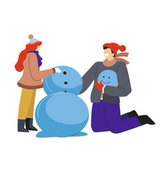 winter outdoor activity girl and guy building vector image