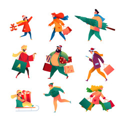 winter people with presents outdoor set vector image