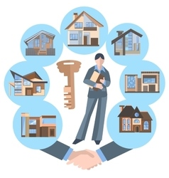 Woman real estate agent building key house vector image