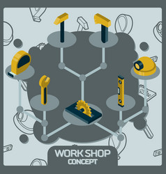 work shop color concept isometric icons vector image