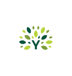 Y letter tree leaf nature mark green logo icon vector
