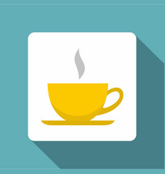 yellow cup of tea or coffee icon flat style vector image