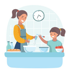 Young beautiful mother teaches daughter prepare vector