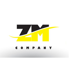 Zm z m black and yellow letter logo with swoosh vector