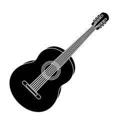 yellow guitar hippy single icon in black style vector image
