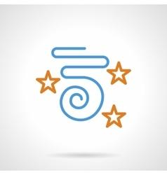 Blue confetti and stars simple line icon vector image