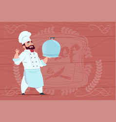 chef cook holding tray with dish smiling cartoon vector image vector image