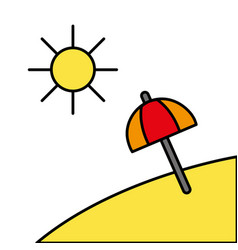 island with sun weather and umbrella open vector image