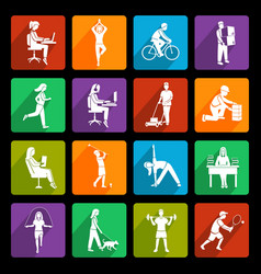 Physical activity icons flat vector image vector image