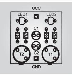 printed circuit board through-hole technology vector image