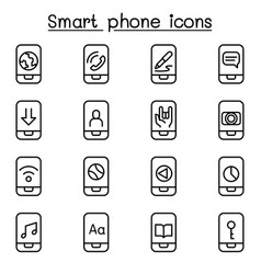 smart phone icon set in thin line style vector image