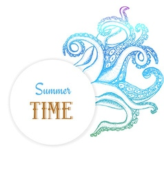 Summer time poster with octopuses tentacles vector