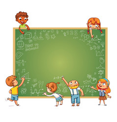 different children draw doodle on school board vector image