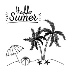 monochrome poster of hello summer with umbrella vector image vector image