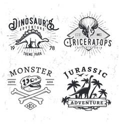 Set of Dino Logos T-rex skull t-shirt vector image vector image
