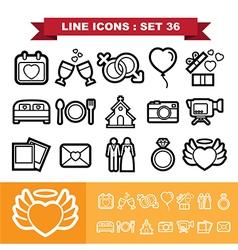Wedding line icons set 36 vector image vector image