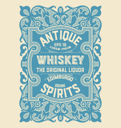 Whiskey label with old frame vector