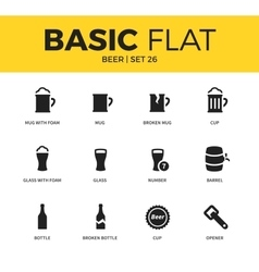 Basic set of beer icons vector image vector image
