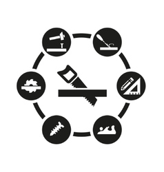 Black carpentry icon set vector