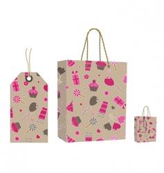 brown bag and tag set vector image vector image