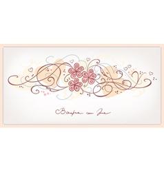 cute pink flowers vintage background vector image