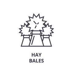 hay bales line icon outline sign linear symbol vector image vector image