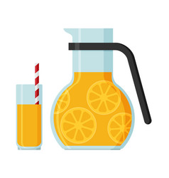 jug and a glass of juice flat vector image