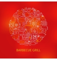 Line Barbecue Grill Icons Circle Concept vector image vector image
