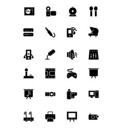 Music solid icons 4 vector