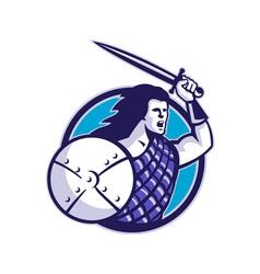 scottish hilander sword shield vector image vector image