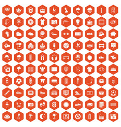 100 soccer icons hexagon orange vector
