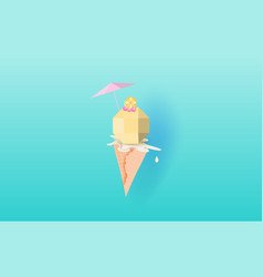 3d paper art of ice cream with cherry and lemon vector image