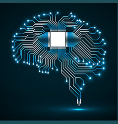 Abstract technological glowing brain cpu vector