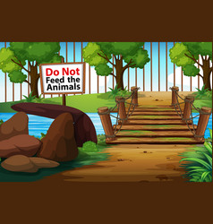 Background scene park with sign do not fee vector