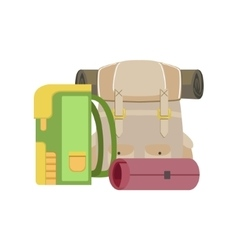 Backpacks And Rolled Camping Matrass vector