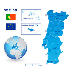 blue political map portugal vector image