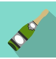 Bottle of champagne flat icon vector