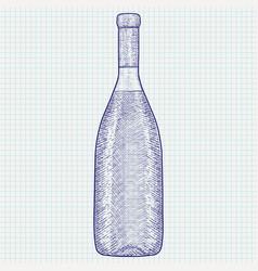 bottle wine hand drawn sketch vector image