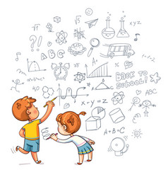 Boy and girl draw a doodle on the wall vector