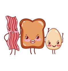 Breakfast cute bacon bread and fried egg kawaii vector