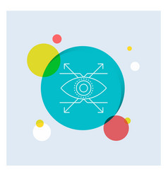 business eye look vision white line icon colorful vector image