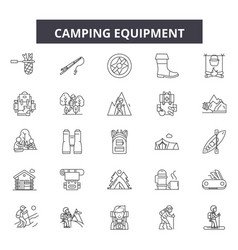 camping equipment line icons signs set vector image