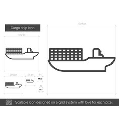 Cargo ship line icon vector