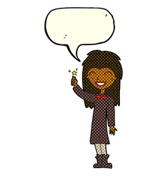 Cartoon friendly witch girl with speech bubble vector